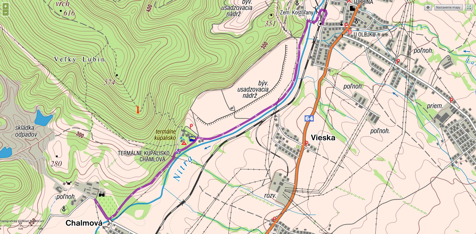 mapa trasy - Kaštieľ Chalmová
