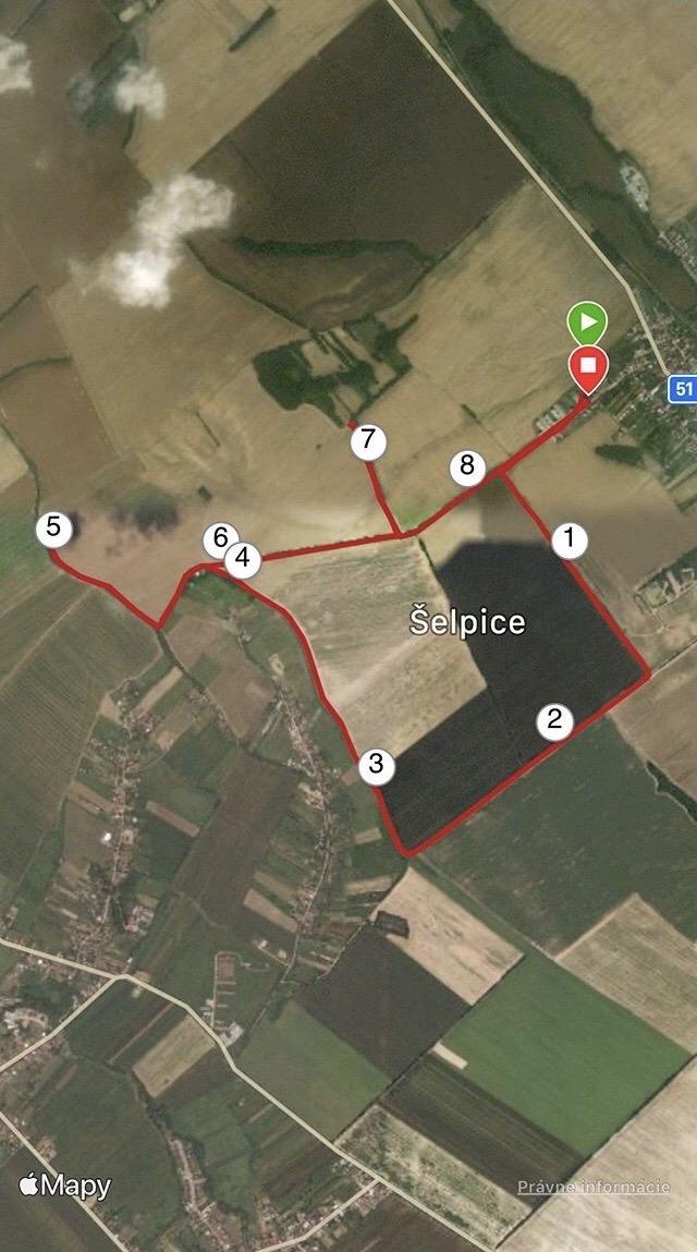 bežecká trasa podľa Romany Komarňanskej (Šelpice - Trnavský kraj)