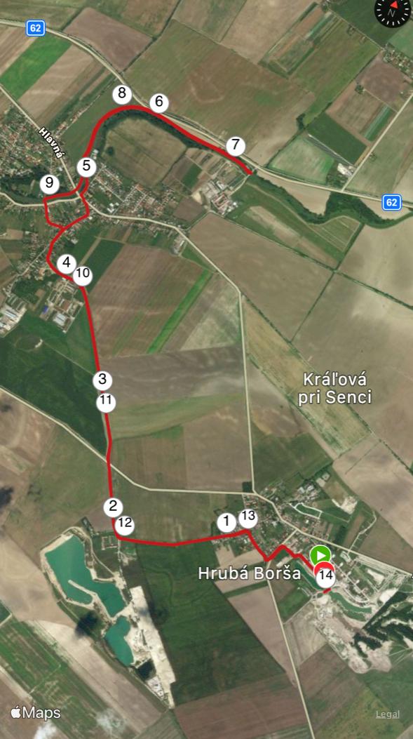 mapa trasy Hrubá Borša - Kráľová pri Senci