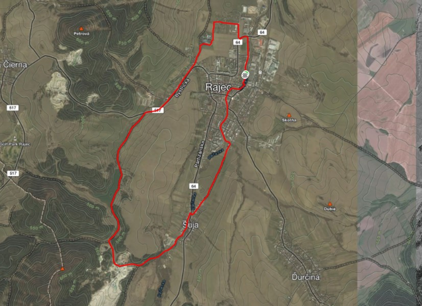 Okolo Rajeckého rybníka Košiare (Žilinský kraj) mapa trasy
