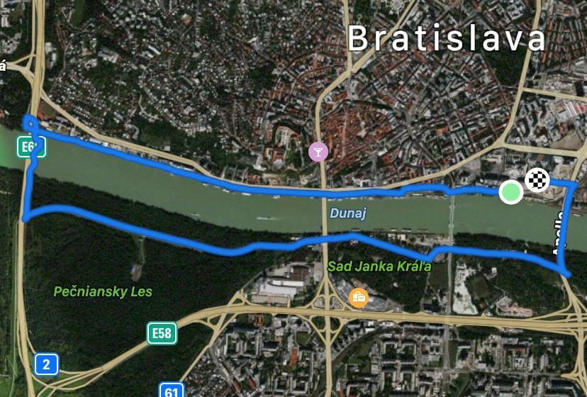 mapa trasy Bratislava