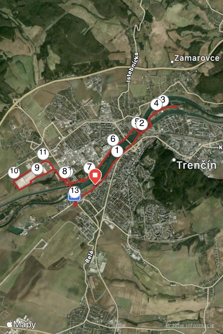 mapa trasy podľa Barbory Brezovskej (Trenčiansky kraj)
