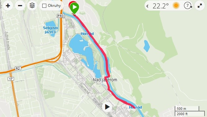 trasa podľa Petra Remiho -jazero -mapa