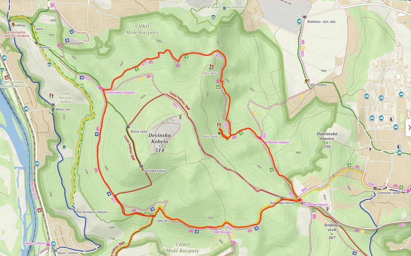 mapa trasy okolo kobyly